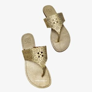Tory Burch Roselle Lasercut Leather Thong Sandals
